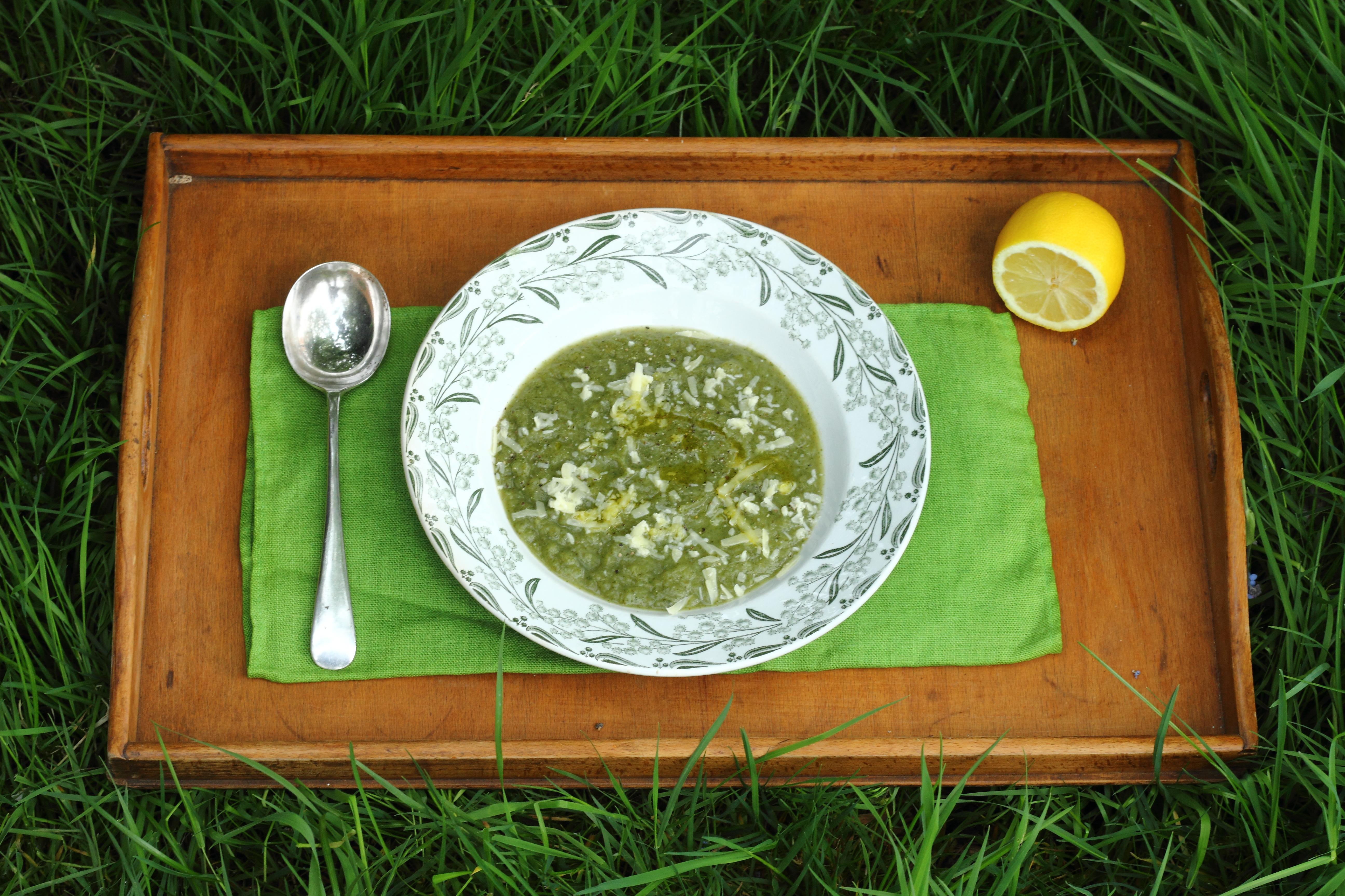 nettle soup in grass