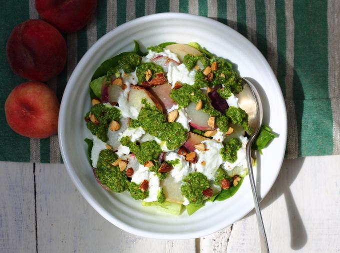 peach & mozarella salad