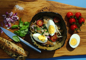 HOW TO LIVE HAPPILY EVER LAUGHTER & FARRO SALAD WITH EGGS AND SMOKED MACKEREL