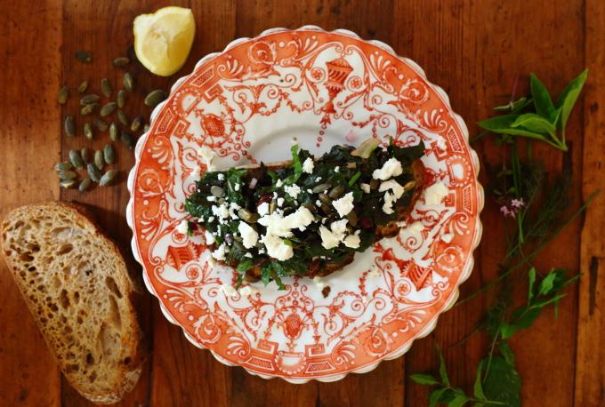 Horta greens on toast