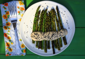YOUR BRAIN WANTS YOU TO LOOK AFTER IT RIGHT NOW, and griddled asparagus with miso dressing