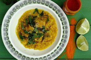 CARING, TURMERIC AND A RECIPE FOR SALMON PILAFF
