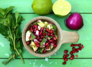 HOW RED/BLUE JUICE CAN KEEP A SPRING IN YOUR STEP – POMEGRANATE AND CUCUMBER SALAD